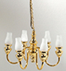HW2533 - 6 Up-Arm Frosted Long Chimney Chandelier