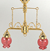 HW2534 - 2 Down-Arm Chand W/Pink Flr Glass Shade