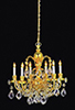 HW2816 - Brass 6-Arm Crystal Chandelier