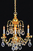 HW2817 - Brass 3-Arm Crystal Chandelier