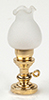HWH2014 - 1/2 Scale: Oil Lamp W/Floral Frosted Glass Shade