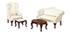 AZ03160 - Small Q.A Living Room 4Pc Wh Fabric/Cb