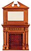 AZD0525 - Fireplace W/Mirror, Walnut, Cb