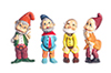 Set of Gnomes, 3 Inches, 6pc