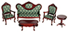 AZT0101 - Vict. Living Room Set, 5Pc Green/Mahog/Cs