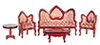 AZT0102 - Vict. Living Room Set, 5Pc, Red/Mah/Cs