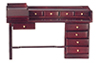 AZT3465 - Nine Drawer Desk, Mahogany