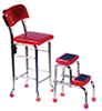 AZT5951 - Kitchen Stool W/Steps, Red