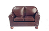 AZT6501 - Loveseat, Brown Leather