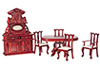 AZ00802 - Dining Room Set, Mahogany, 6Pc/Cb