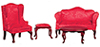 AZ03195 - Queen Anne Living Room, Red, 4Pc/Cs