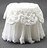CB126W - Lace Top Skirted Table, White