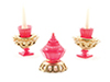 CB164 - Candlesticks W/Candy Dish Set, 3Pc
