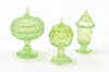 CB68G - Candy Dishes, 3Pc Green