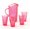 CB88CR - Pitcher W/4 Glasses, Cranberry