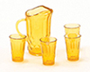 CB88DA - Pitcher W/4 Glasses, Dark Amber