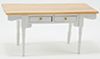 CLA00552 - White Vermont Table With Oak Top