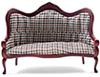CLA10701 - Vict Sofa, Mahogany, Plaid Fabric