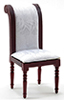 CLA10848 - Side Chair, Mahogany W/White Fabric
