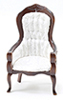 Victorian Gent's Chair, Walnut, White Brocade