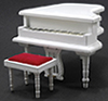 CLA91405 - Baby Grand Piano W/Stool, Wht
