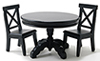 Black Pedestal Table with 2 Chairs