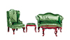 AZ03155 - QA Living Room Set, Gr. Broc., 4pc