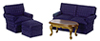 AZ00316 - Small Living Room, Navy/Walnut, 4pc