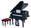 AZ05913 - Baby Grand Piano with Stool, Black/Cb