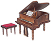 AZ91408 - Baby Grand Piano with Stool, Walnut