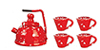 Red Spatterare Tea Set/5
