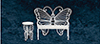 AZEIWF569 - Butterfly Bench/Table/Wht