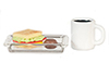 Sandwich & Coffee & Cookie on Plate