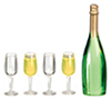 AZG7365 - Champagne Bottle/4 Glass