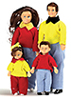 AZG7603 - Casual Doll Family, 4Pc, Brown