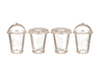 AZG7764 - Glasses, 2 Round Top, 2 Flat Top, 4 Pieces