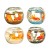 AZG7774 - Fish Bowls with 2 Fish, Set, 4