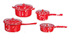 AZMA2106R - Red Spatterware Pots, 4