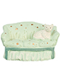 AZMA9204 - Mini Green Sofa W/Cat