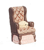 AZMA9205 - Mini Brown Chair W/Cat