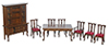 AZT0052 - Dining Room Set, 8Pc, Red/Walnut/Cb