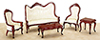 AZT0128 - Victorian Living Room Set, Mahogany, 5pc