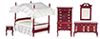 AZT3098 - Canopy Bedroom Set 5/Pc, Mahogany/Cb