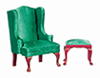 AZT3160 - QA Wing Chair with Ottoman, Green