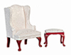 AZT3162 - .QA Wing Chair with Stool, White/Mahogany