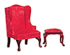 AZT3196 - .QA Wing Chair with Stool, Red, Cb
