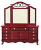 AZT3485 - Dresser with Mirror, Mahogany
