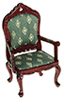 AZT3502 - Victorian Fauteil, Mahogany/Green Diamonds