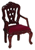 AZT3602 - Carved Back Armchair, Red/Mahogany