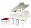 AZT5213 - Piano with Bench, White